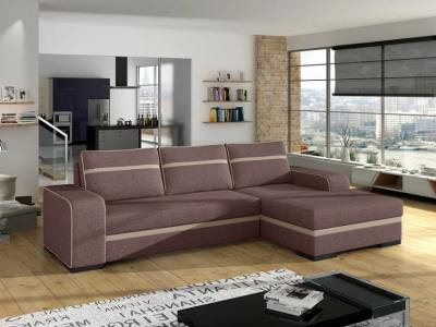 Chaise Longue Sofa Bed with Storage - Bermuda. Brown Fabric. Right Corner