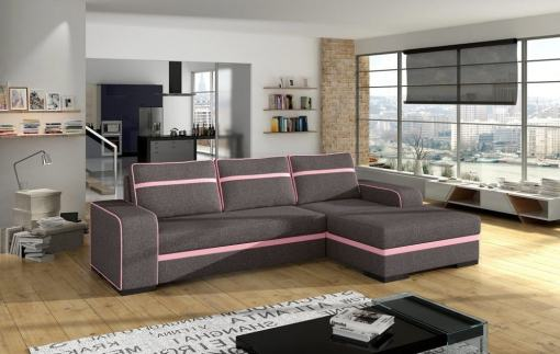 Chaise Longue Sofa Bed with Storage - Bermuda. Grey Fabric with Pink Stripes