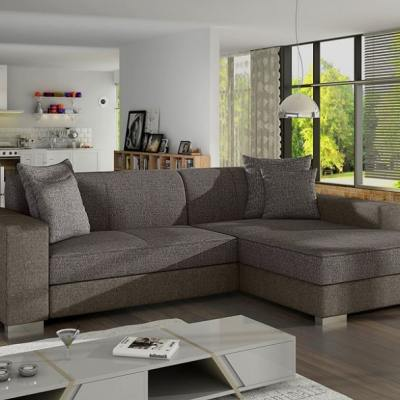 Chaise Longue Sofa Bed with Storage - Maldives. Grey Fabric. Right Corner