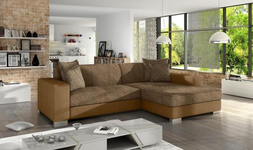 Chaise Longue Sofa Bed with Storage - Maldives. Brown Fabric and Light Brown Faux Leather. Right Corner