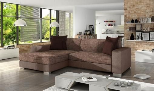 Chaise Longue Sofa Bed with Storage - Maldives. Dark Brown Fabric and Light Brown Fabric. Left Corner