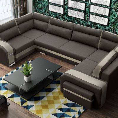 Sofá grande en forma de U (2 esquinas) - Baia. Colores marrón oscuro y marrón claro. Esquina derecha