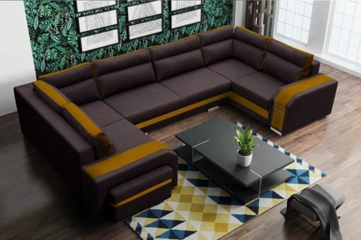 Sofá grande en forma de U (2 esquinas) - Baia. Tela marrón y oro. Esquina izquierda