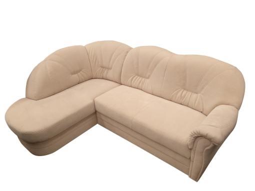Sofá rinconera de tela antimancha. Esquina izquierda. Color beige -Emilia