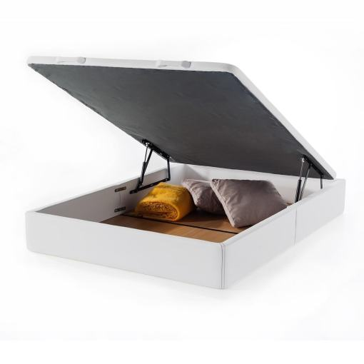 Double Wide Lift-Up Storage Bed 135 x 190 cm. Upholstered in White Faux Leather. Basel