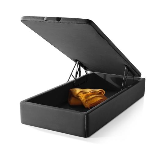 Lift-Up Storage Bed 90 x 190 cm. Upholstered in Black Faux Leather. Basel