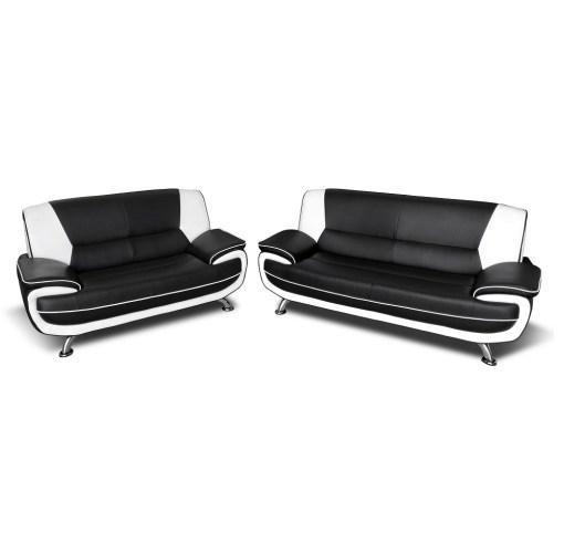 Conjunto de sofás en piel sintética 3 plazas más 2 plazas - Naples. Colores blanco y negro