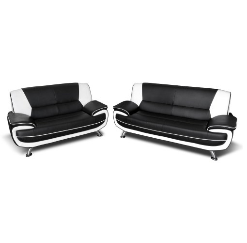 Sofa Set in Black and White Faux Leather 3 Seater and 2 Seater - Naples