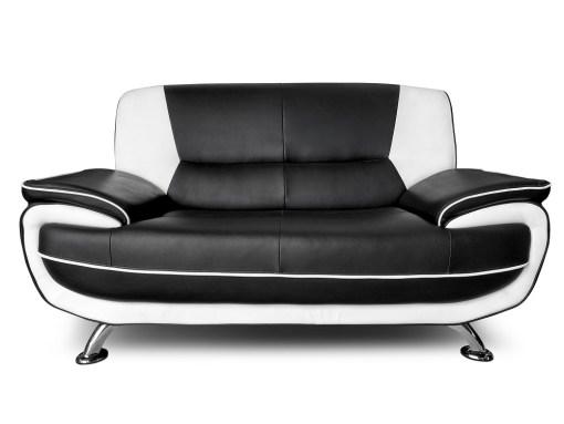 Sofá 2 plazas de conjunto de sofás en piel sintética 3 plazas más 2 plazas - Naples. Colores blanco y negro