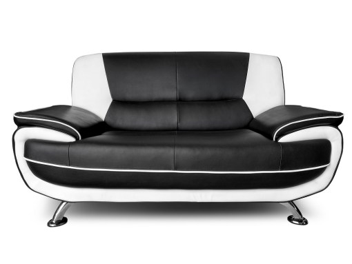 2 Seater Sofa. Sofa Set in Black and White Faux Leather 3 Seater and 2 Seater - Naples