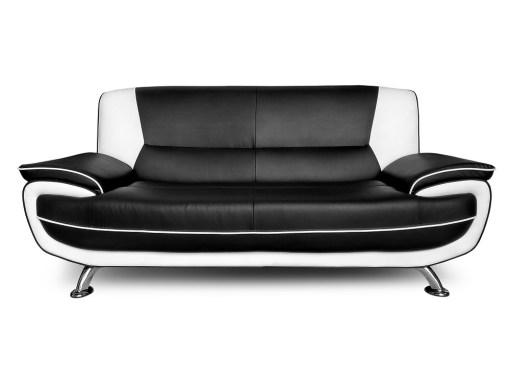 Sofá 3 plazas de conjunto de sofás en piel sintética 3 plazas más 2 plazas - Naples. Colores blanco y negro