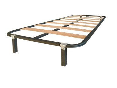 Single Slatted Bed Base 90 x 190 cm with Legs - Laminor
