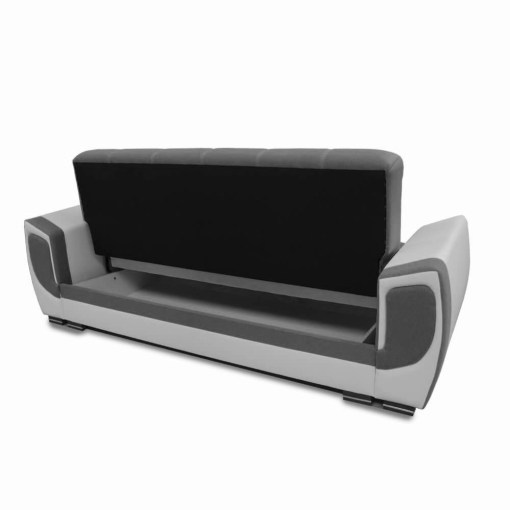 Storage Opened. Sofa Bed Upholstered in Fabric and Synthetic Leather - Tarancón