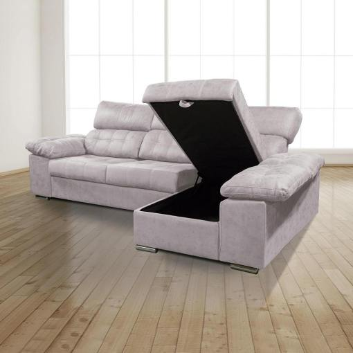 Arcón abierto. Chaiselongue derecha. Sofá chaiselongue con asientos extraíbles, arcón y reposacabezas reclinables, color gris (cemento) - Granada