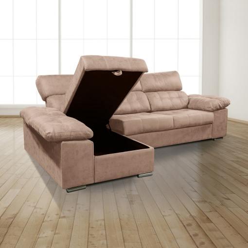 Arcón abierto. Chaiselongue izquierda. Sofá chaiselongue con asientos extraíbles, arcón y reposacabezas reclinables, color marrón (piedra) - Granada