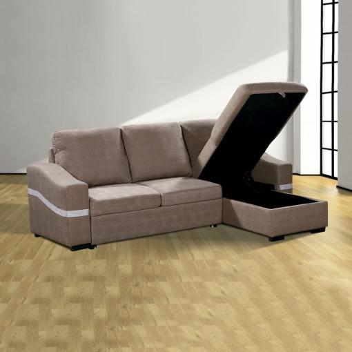 Arcón abierto. Sofá chaise longue convertible en cama. Tela marrón (chocolate). Chaise longue lado derecho - Santander