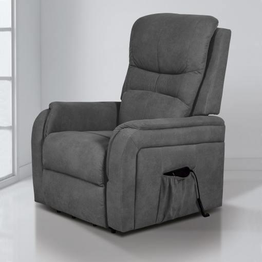 Кресло реклайнер с пультом и функцией подъема - Caudete. Серая ткань