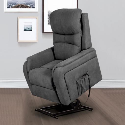 Кресло реклайнер с электромотором и функцией подъема - Caudete. Серая ткань