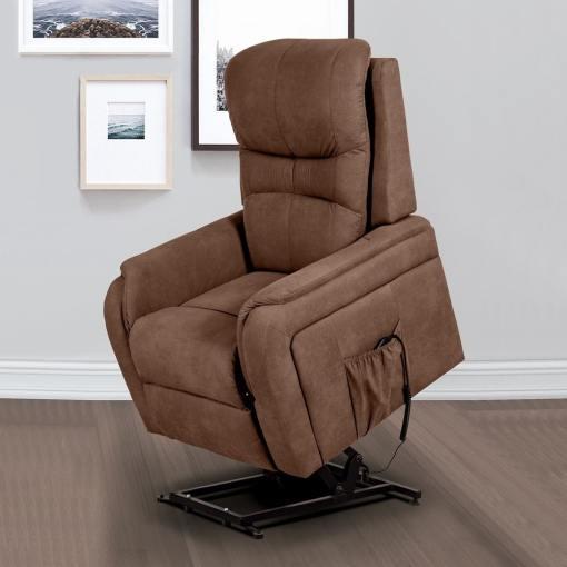 Кресло реклайнер с электромотором и функцией подъема - Caudete. Коричневая ткань