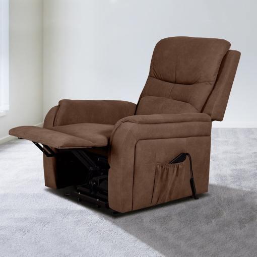 Поднимающаяся подставка для ног и опускающаяся спинка. Кресло реклайнер с функцией подъема - Caudete. Коричневая ткань