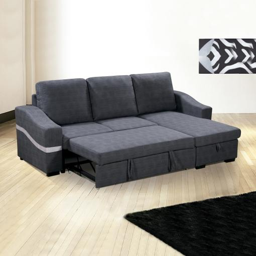 Converted Into Bed. Convertible Chaise Longue Sofa Bed with Storage - Santander. Grey Fabric, Right Corner