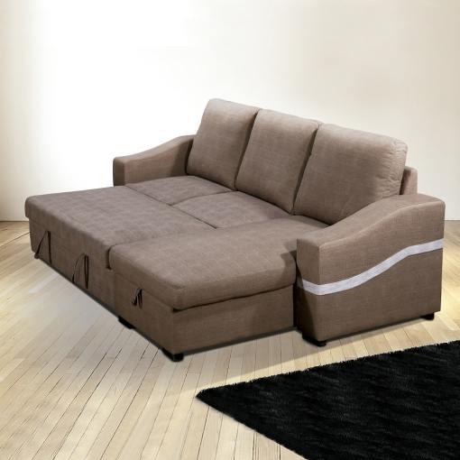 Cama abierta. Sofá chaise longue convertible en cama. Tela marrón (chocolate). Chaise longue lado derecho - Santander