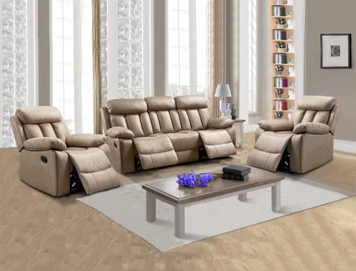 Conjunto 3+1+1 de un sofá de tres plazas y dos sillones relax. Tela antimancha beige - Barcelona