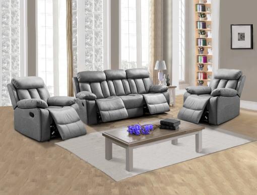 Conjunto 3+1+1 de un sofá de tres plazas y dos sillones relax. Tela antimancha gris - Barcelona