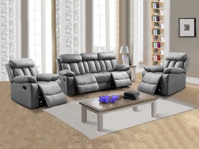 Living Room Set 3+1+1: Three-seater Recliner and Two Armchairs - Barcelona. Grey Fabric