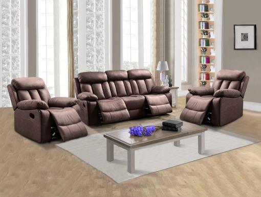 Conjunto 3+1+1 de un sofá de tres plazas y dos sillones relax. Tela antimancha marrón (chocolate) - Barcelona