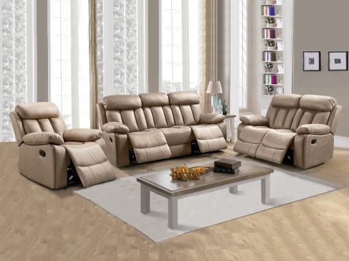 Conjunto 3+2+1 de dos sofás y un sillón relax. Tela antimancha beige - Barcelona