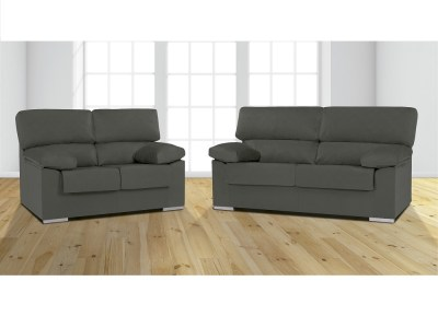 Grey Melissa Fabric. Sofa Set - 3 Seater and 2 Seater in Synthetic Fabric - Salamanca
