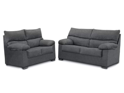 Conjunto de sofás 3+2 en tela sintética - Salamanca. Color gris