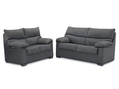 Sofa set: 3-seater and 2-seater in synthetic fabric - Salamanca. Grey