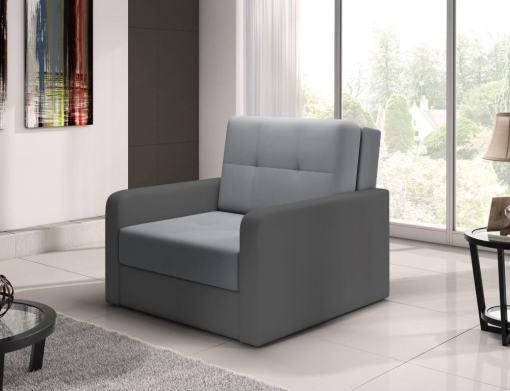 Sillón cama individual (1 plaza) - Almansa. Asiento gris claro, brazos gris oscuro. N4