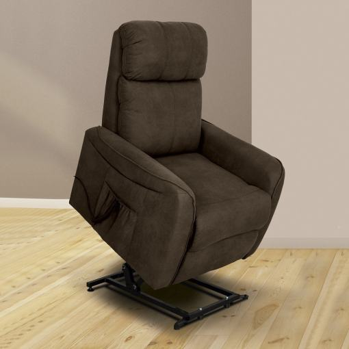 Sillón eléctrico relax reclinable levantapersonas. Tela marrón (chocolate) - Cieza