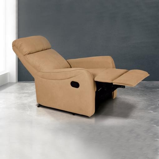 Sillón relax manual con reposapiés elevable y respaldo reclinable. Color beige - Cieza