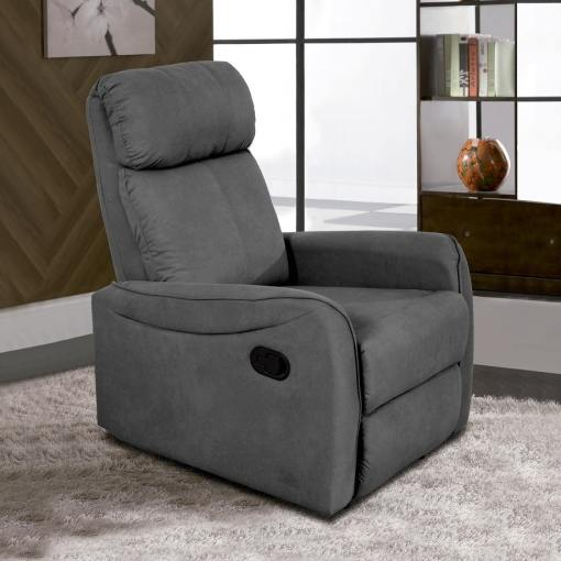 Manual Recliner Armchair with Lever - Cieza. Grey Microfiber