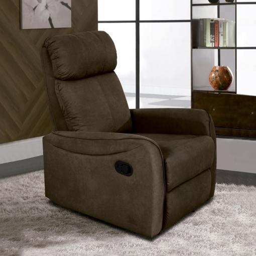 Sillón relax manual reclinable con palanca. Tela microfibra marrón (chocolate) - Cieza