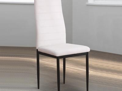 Silla blanca tapizada con patas metálicas - Villena