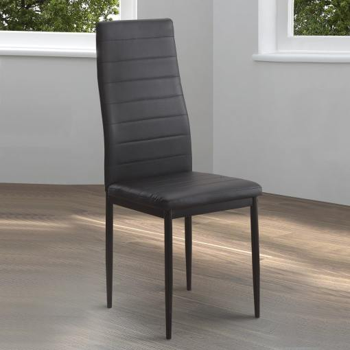 Silla negra tapizada con patas metálicas - Villena