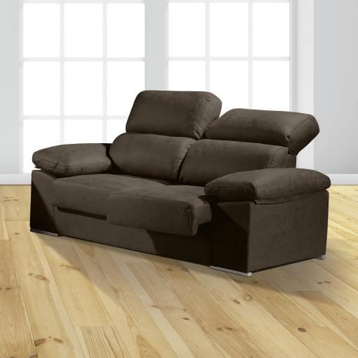 "3 Seater Sofa with Sliding Seats and Reclining Backrests - Toledo. Dark Grey Colour (""Plomo"")"