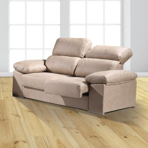 "3 Seater Sofa with Sliding Seats and Reclining Backrests - Toledo. Beige Colour (""Piedra"")"