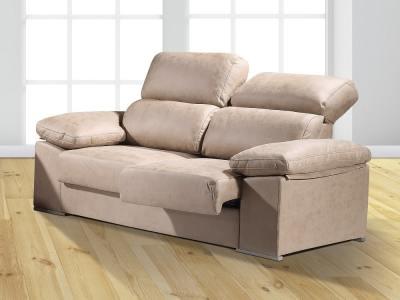 Sofá 3 plazas con asientos deslizantes y respaldos reclinables - Toledo. Color marrón (piedra)