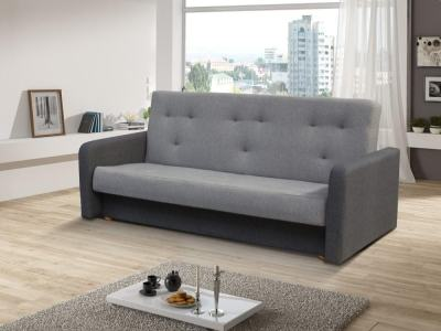 Click Clack Sofa Bed with Narrow Armrests - Jumilia. Seat and Backrest in Light Grey Fabric, Armrests and Base in Dark Grey Fabric