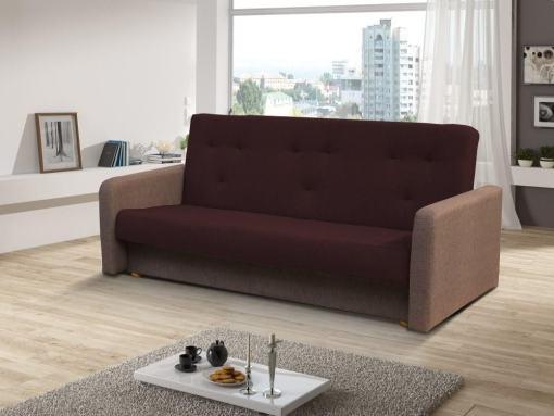 Sofá cama clic clac - Jumilia. Asiento y respaldo - tela marrón oscuro, brazos - tela marrón claro