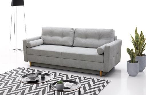 Sofá cama escandinavo 3 plazas. Tela microfibra color gris claro - Halmstad