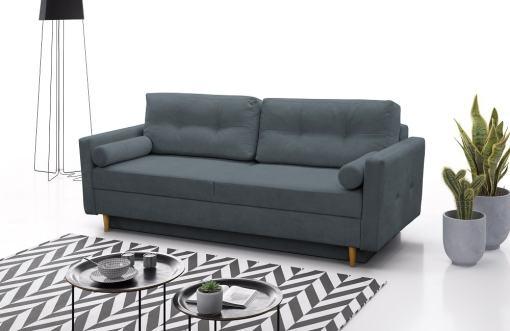 Sofá cama escandinavo 3 plazas. Tela microfibra color gris oscuro - Halmstad