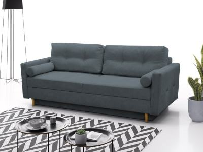 Scandinavian Design Sofa Bed with Storage - Halmstad. Dark Grey Fabric