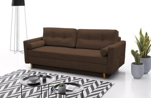 Трёхместный диван-кровать в скандинавском стиле - Halmstad. Коричневая ткань